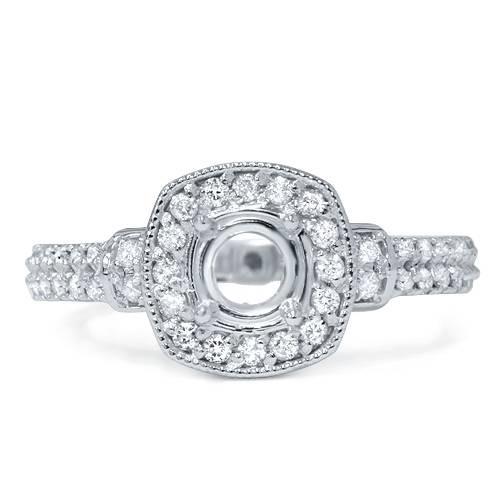 1/2ct Cushion Halo Diamond Engagement Ring Setting Semi Mount 14K White Gold (G/H, I1-I2)
