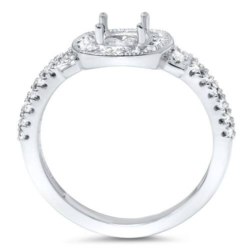 1/2ct Cushion Halo Diamond Engagement Ring Setting Semi Mount 14K White Gold (G/H, I1-I2)