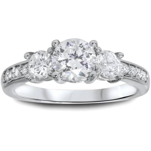 1 1/4ct Three Stone Round Diamond Engagement Ring 14K White Gold (H, I1)