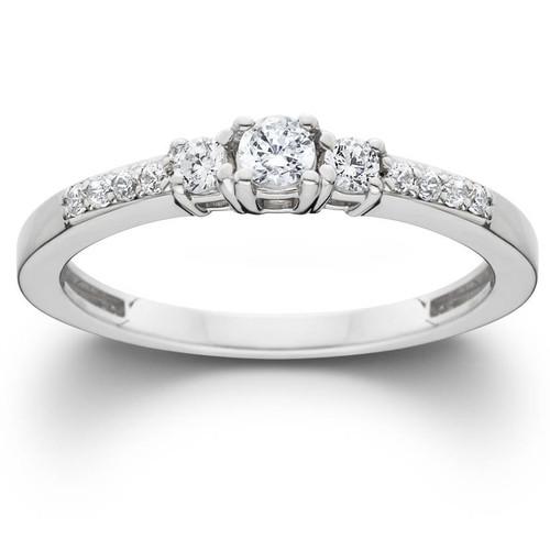 1/3ct Three Stone Round Diamond Engagement Ring 14K White Gold (H, I1)
