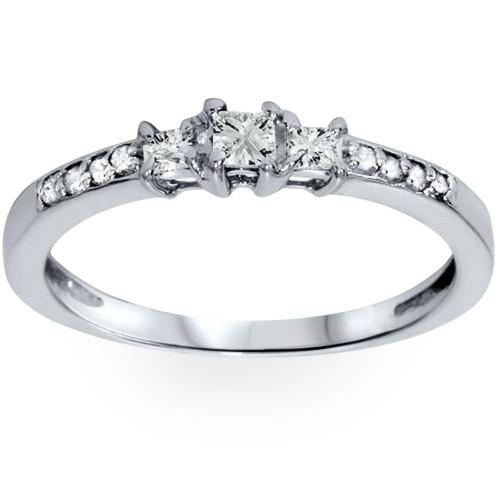 1/4ct Three Stone Princess Cut Diamond Engagement Ring 14K White Gold (H, SI2)
