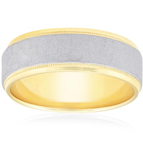 Platinum & 18K Yellow Gold Hammered Wedding Band