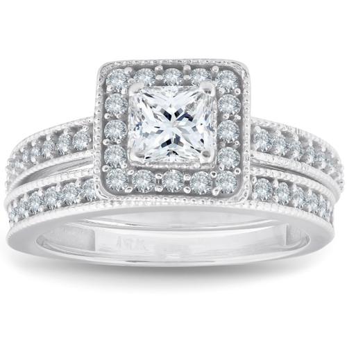 1ct Princess Cut Halo Diamond Engagement Wedding Ring Set 14K White Gold (G/H, I1-I2)