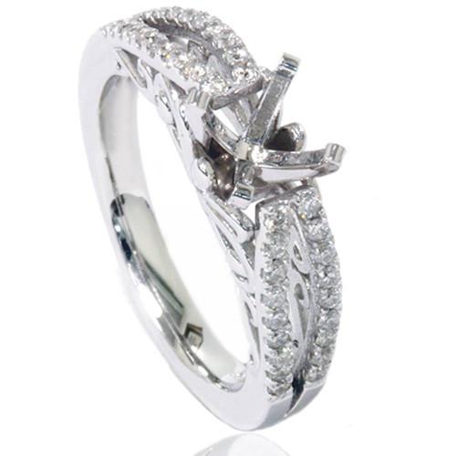 3/8ct Vintage Diamond Engagement Ring Setting 14K White Gold (G/H, I1-I2)