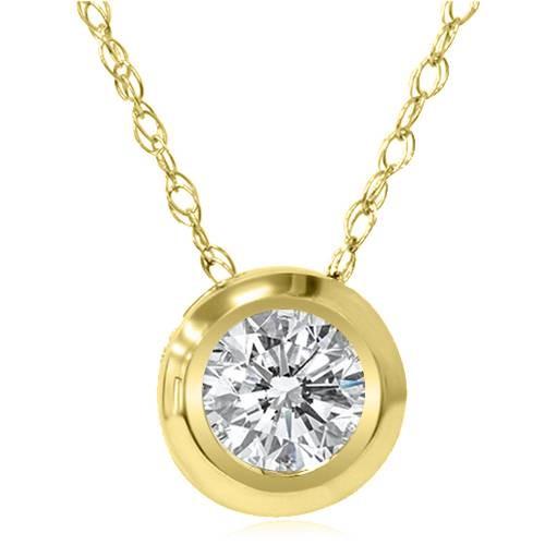 Yellow Gold 1/6ct Round Diamond Bezel Solitaire Pendant 14K (G/H, I1)