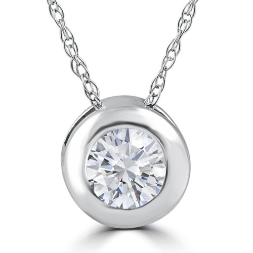 """1/4CT EX3 Lab Grown Diamond Solitaire Pendant 14k White Gold 18"""" Necklace ((F-G), SI(1)-SI(2))"""