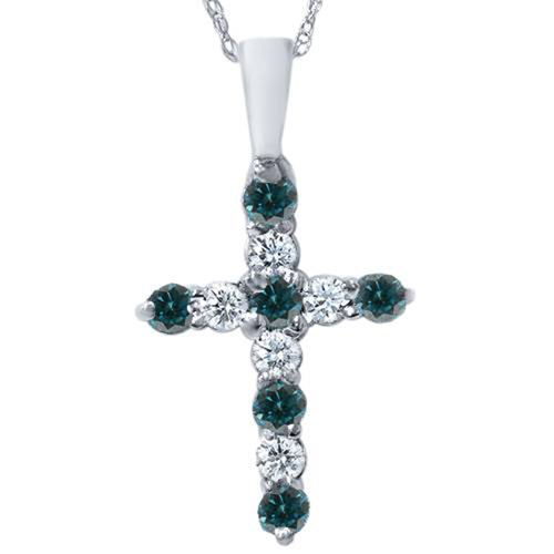 "1/2ct Blue & White Diamond Cross Pendant 14K White Gold W/ 18"" Chain (G/H, I1)"