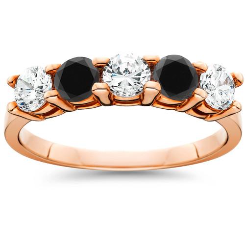 1 1/4 cttw Black & White Diamond Wedding Anniversary 5-Stone Ring 14K Rose Gold (H/I, I1-I2)