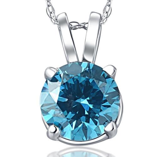 1ct Blue Diamond Solitaire 14K White Gold Pendant (Blue, SI3)