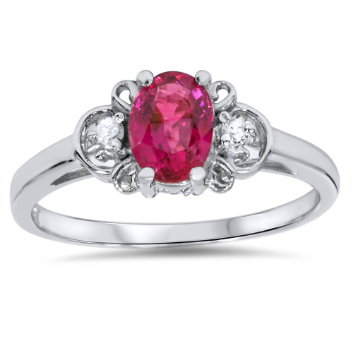 5/8ct Ruby & Diamond Ring 14K White Gold (G/H, SI2)