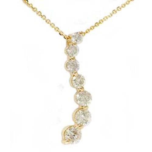 1 1/2ct Real Diamond Journey Pendant 14K Yellow Gold New (G/H, I1)