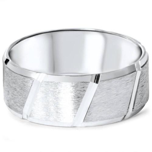 Mens Brushed Wedding Band 14K White Gold