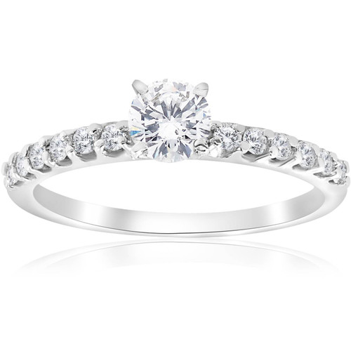 0.80Ct Round Cut Diamond Halo Engagement Ring 14k White Gold Enhanced (E, SI(1)-SI(2))