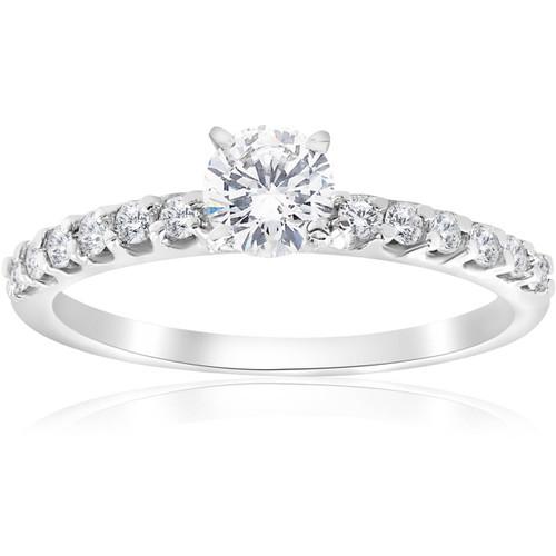 0.80Ct Round Cut Diamond Halo Engagement Ring 14k White Gold Enhanced (E, SI(1)-SI(2))