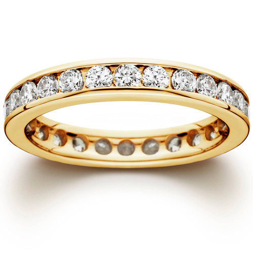 1 1/2 CT Channel Set Eternity Diamond Ring 14K Yellow Gold (G/H, I1)