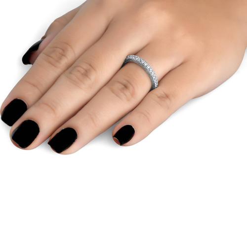 1/2 CT Vintage Natural Diamond Wedding Ring 14K White Gold (G/H, I1)