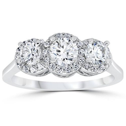 1ct Pave Halo Three Stone Diamond Ring 14K White Gold (G/H, I2)