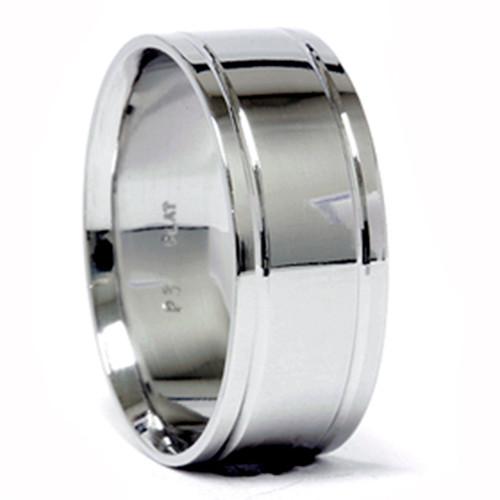 Mens Double Inlay Wedding Band 950 Platinum