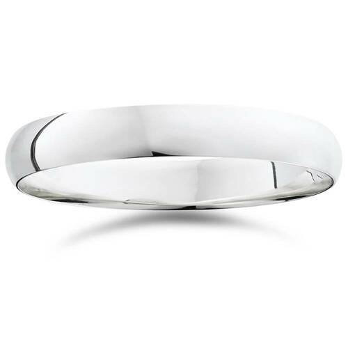 High Polished Dome Wedding Band 14K White Gold