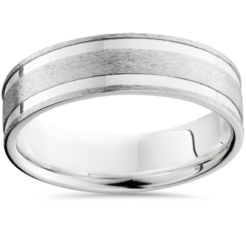 Double Channel Brushed Wedding Band 14K White Gold