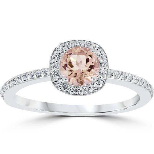 7/8ct Round Morganite & Diamond Cushion Halo Engagement Ring 14K White Gold (G/H, I2)