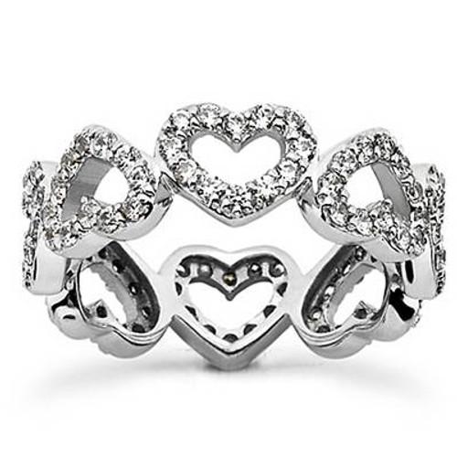 1 5/8ct Heart Shape Diamond Eternity Ring 14K White Gold (G/H, I1-I2)