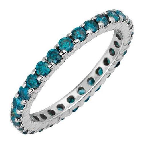 1ct Blue Diamond Eternity Ring 14K White Gold (Blue, I1-I2)