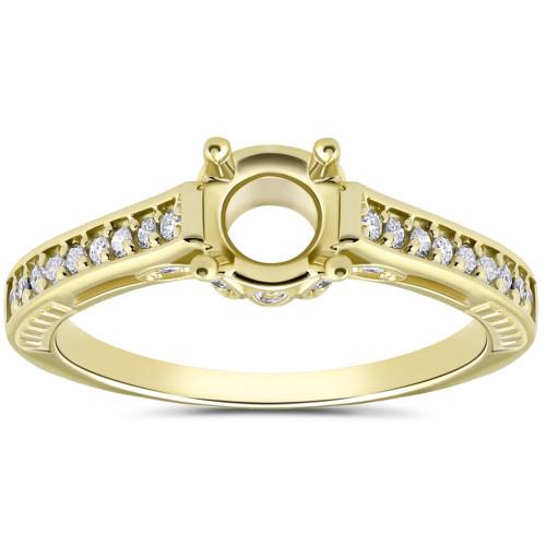Vintage 1/5ct Semi Mount Engagement Ring Setting Gold (H/I, I2)