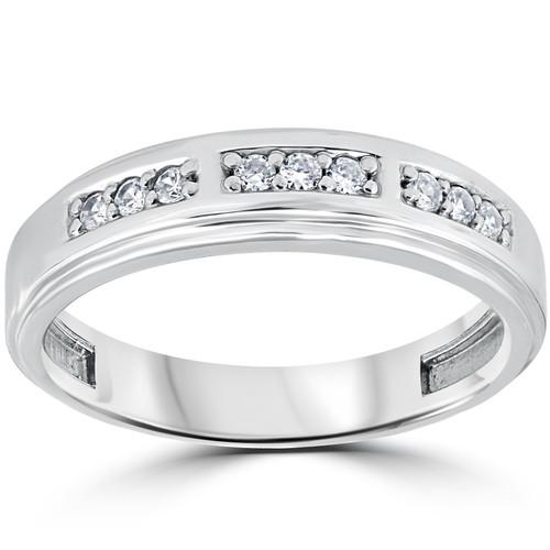 1/4Ct Mens Round Diamond Polished Wedding Ring 10k White Gold (I/J, I1-I2)