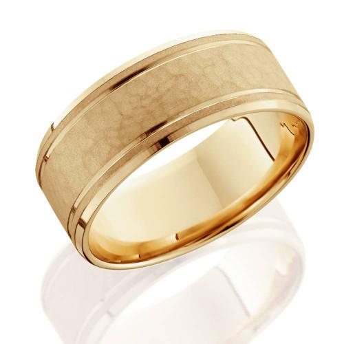 8mm Hammered Center Mens Wedding Band 14K Yellow Gold