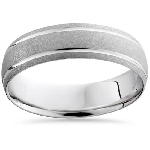 Mens 6MM 14K White Gold Brushed Comfort Wedding Band Ring