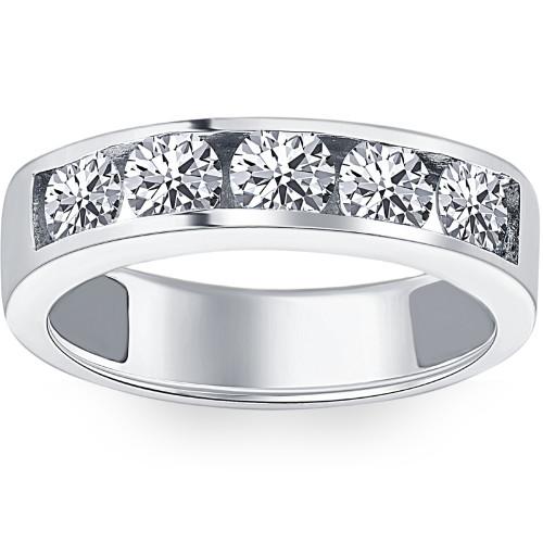 1 1/4ct Diamond Wedding Ring Channel Set Mens Ring 14k White Gold (G/H, I1)
