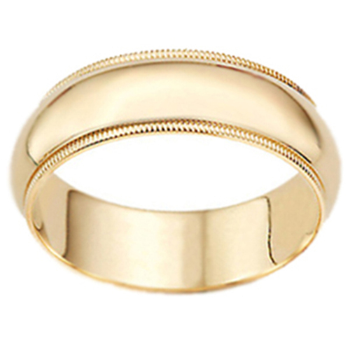 Milgrain Mens Wedding Band 14K Yellow Gold