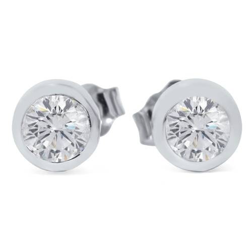1/2ct Bezel Set Round Diamond Studs 14K White Gold (G/H, SI2/SI3)
