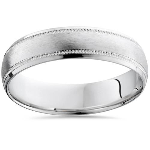 Mens 6mm Platinum Wedding Band Brushed Comfort Fit Ring