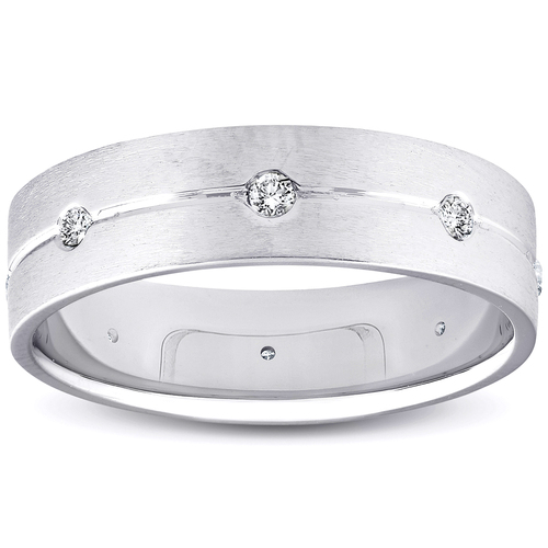 Mens Comfort Fit Bezel Diamond Wedding 14K Band 6mm Mens White Gold Ring (G/H, SI)
