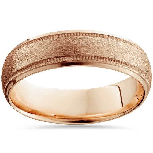 Mens Rose Gold Wedding Band.6mm Brushed Milgrain Mens Wedding Band 14k Rose Gold