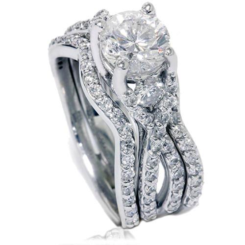 1 3/4ct Twist Diamond Engagement Ring & Matching Wedding Band Set 14K White Gold (G/H, I1-I2)