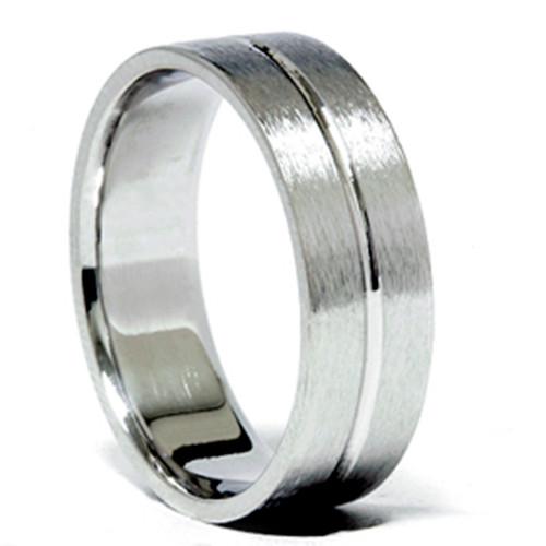 6MM Channel Brushed Wedding Band 950 Platinum