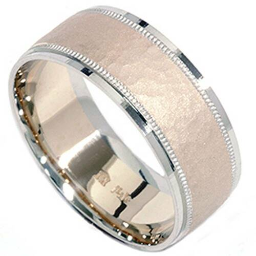 Hammered Two Toned Wedding Band 14K Gold