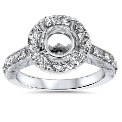 1/2ct Vintage Halo Diamond Ring Setting 14K White Gold (G/H, I1-I2)