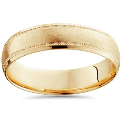 Mens  Brushed Comfort Fit Wedding Band 14k Yellow Gold