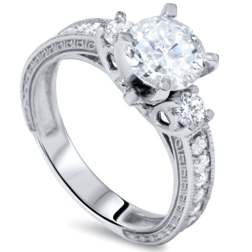 1 3/4ct Vintage Diamond Engagement Ring 14K White Gold Enhanced (G/H, I1)