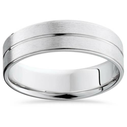Mens Gold Flat Comfort Fit Wedding Ring Band 14K White