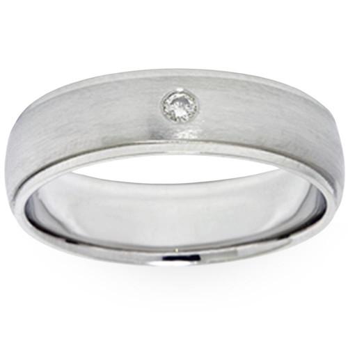Mens Bezel Diamond Solitaire 14K White Gold Wedding Ring Band (G, SI)