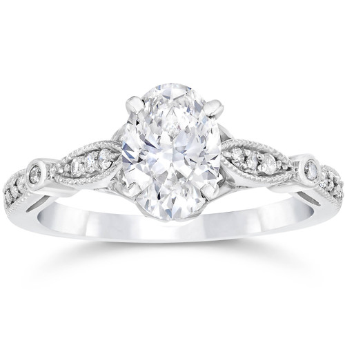 1 1/10 ct Oval Diamond Vintage Engagement Ring Solitaire Antique 14 K White Gold (H/I, SI2-I1)