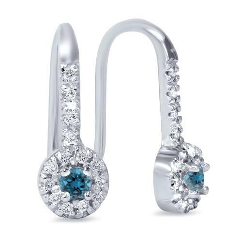 1/4ct Treated Blue & White Diamond Drop White Earrings 14K White Gold (J-K, I2)