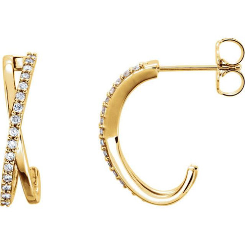 ".25CT 14K Yellow Gold Diamond Hoops Criss Cross Earrings 3/4"" Tall (H, I1-I2)"