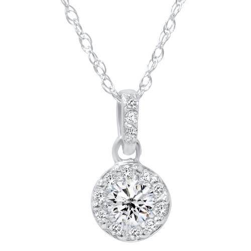 1/4ct Diamond Petite Halo Solitaire Pendant 14K White Gold (G/H, I1)