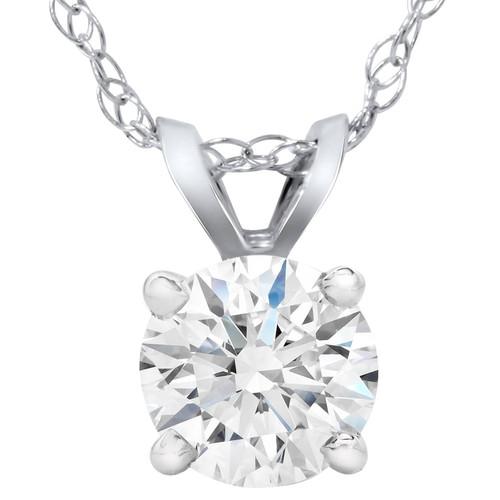 1 1/2ct Lab Created Diamond Round Solitaire Pendant 14K White Gold (F, VS)